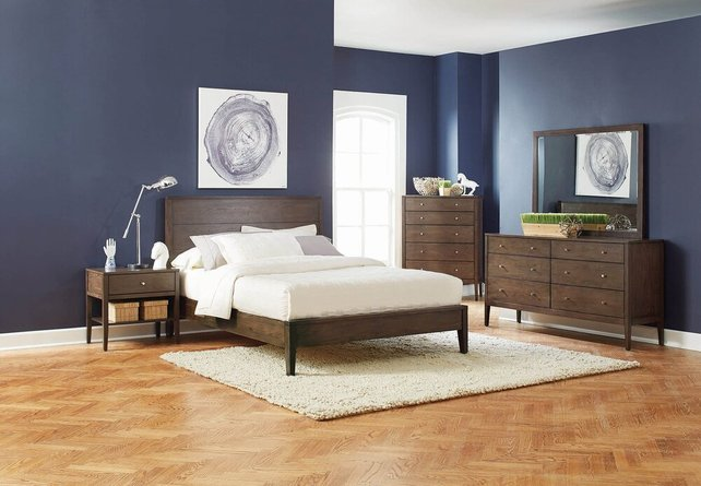 Lompoc Mid-Century Modern Eastern King Bed Brown Walnut
