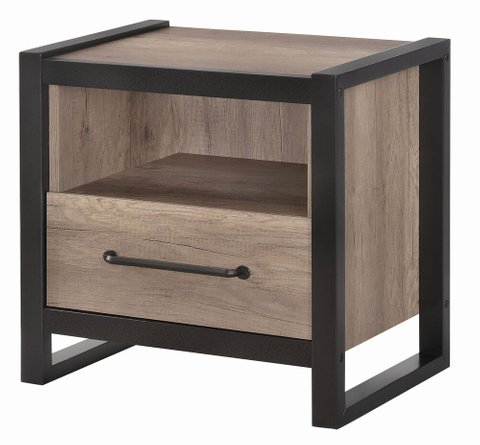 Edgewater Industrial Nightstand Weathered Oak/Black
