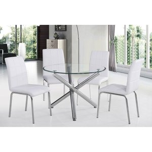 "Solara II 40"" Dining Set For 4 Silver"