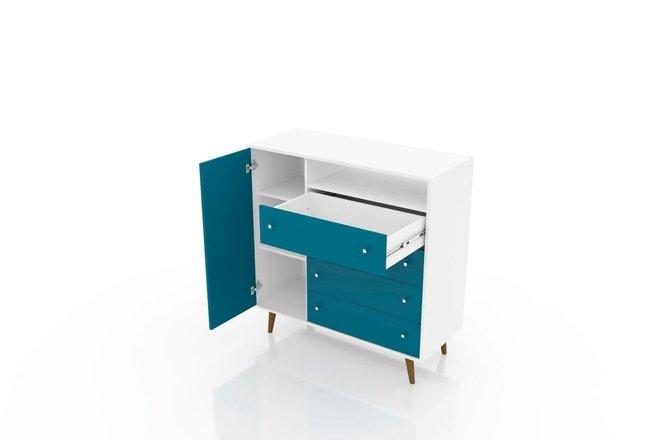 "Liberty 42.32"" Sideboard White/Aqua Blue"