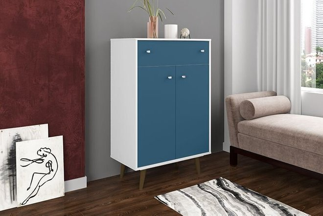 "Liberty 28.07"" Storage Cabinet White/Aqua Blue"