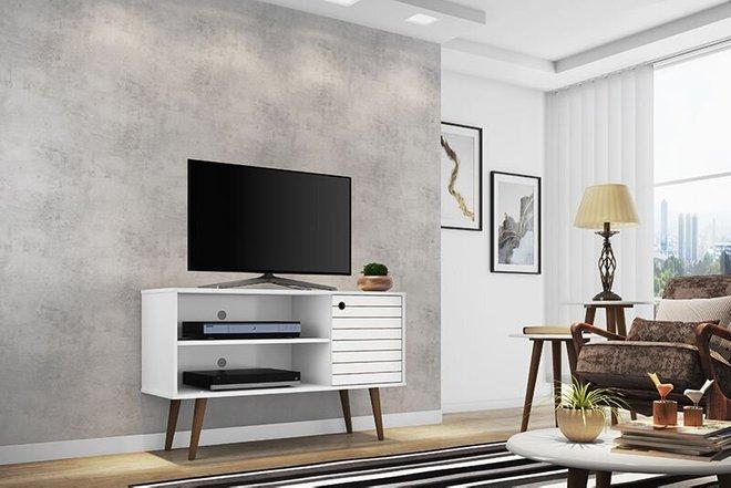 "Liberty 42.52"" Mid Century Modern TV Stand White"