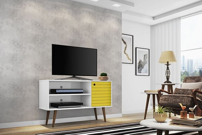 "Liberty 42.52"" Mid Century Modern TV Stand White/Yellow"