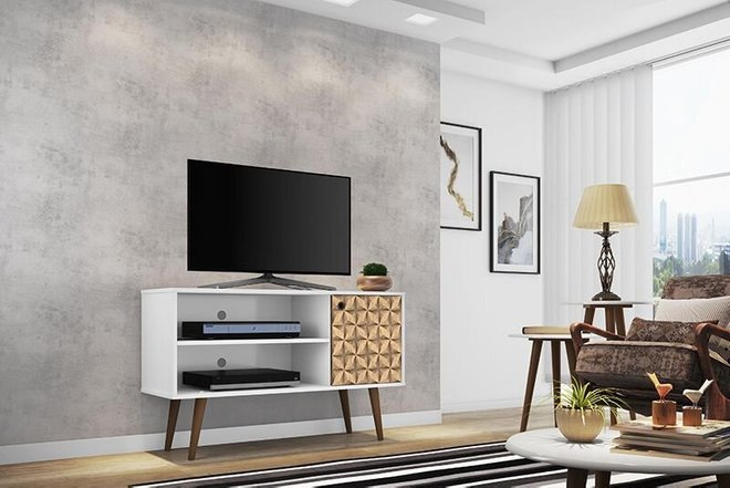 "Liberty 42.52"" Mid Century Modern TV Stand White/3D"