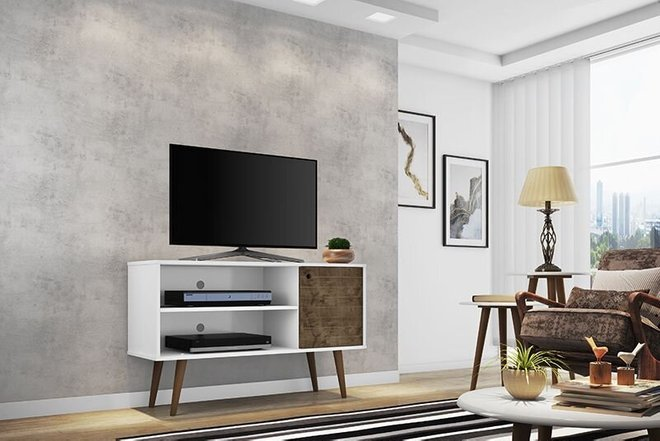 """Liberty 42.52"""" Mid Century Modern TV Stand White/Brown"""