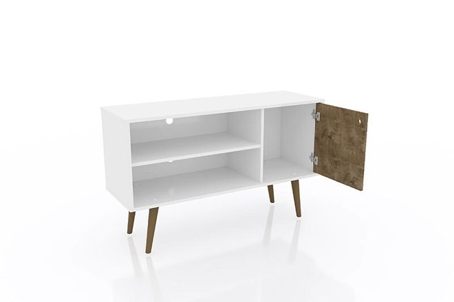"Liberty 42.52"" Mid Century Modern TV Stand White/Brown"