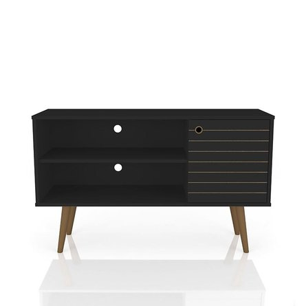 "Liberty 42.52"" Mid Century Modern TV Stand 2 Shelves Black"