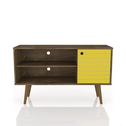 "Liberty 42.52"" Mid Century Modern TV Stand Brown/Yellow"