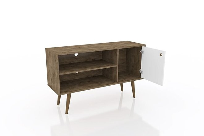 """Liberty 42.52"""" Mid Century Modern TV Stand Brown/White"""