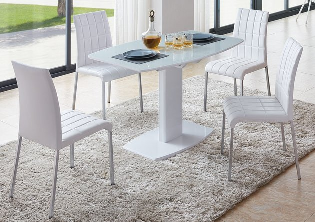 2396 Dining Table With Extention And 3450 Dining Chairs Set White