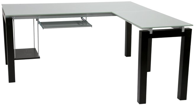 Ballard L Desk Wenge & Silver