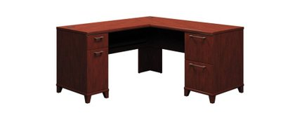 """Office Desk L Shaped With Drawers 60"""" X 60"""" Harvest Cherry"""