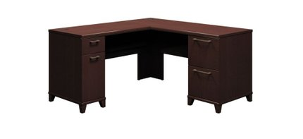 """Office Desk L Shaped With Drawers 60"""" X 60"""" Mocha Cherry"""