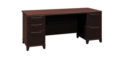"""Office Desk With Drawers 72"""" Mocha Cherry"""