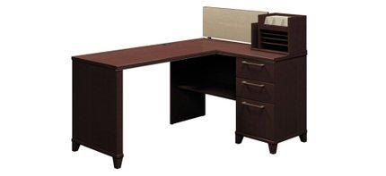 """Corner Desk With Storage 60"""" X 47"""" Mocha Cherry"""
