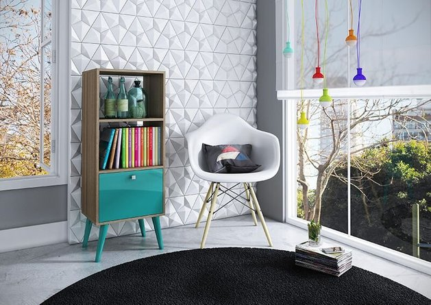 Sami Double Bookcase Oak/Aqua