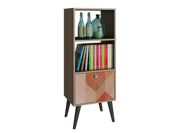Sami Double Bookcase Oak/Stamp