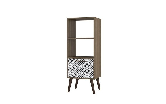 Sami 2.0 Double Bookcase Charcoal/White