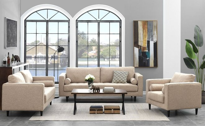 Arthur 3 Piece Set, Tweed Sofa, Loveseat & Armchair Tan Brown