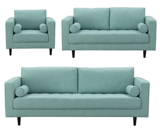 Arthur 3 Piece Set, Tweed Sofa, Loveseat & Armchair Mint Green/Blue