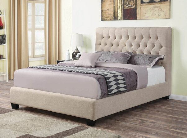 Chloe Transitional Upholstered Full Bed Oatmeal