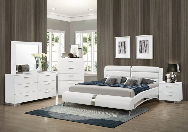 Felicity Contemporary Upholstered Queen Bed White