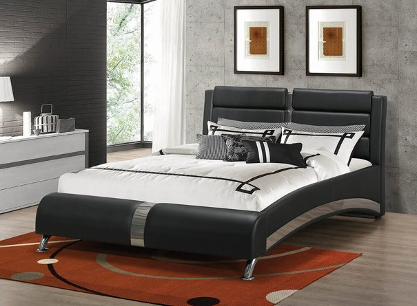 Havering Contemporary Upholstered California King Bed Black And White