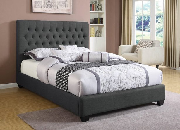 Chloe Transitional Upholstered Full Bed Charcoal