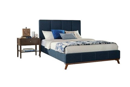 Charity Upholstered Full Bed Blue
