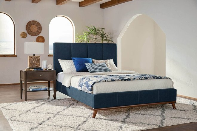 Charity Upholstered California King Bed Blue