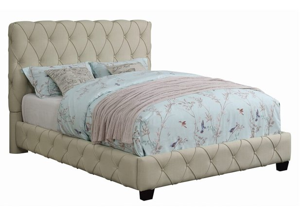 Elsinore Upholstered Twin Bed Beige