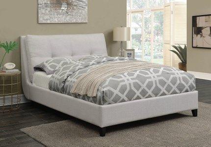 Amador Upholstered Platform King Bed Ivory
