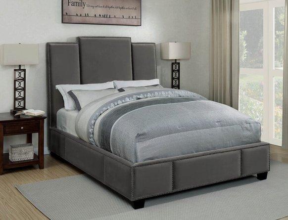 Lawndale Upholstered California King Bed Gray Velvet