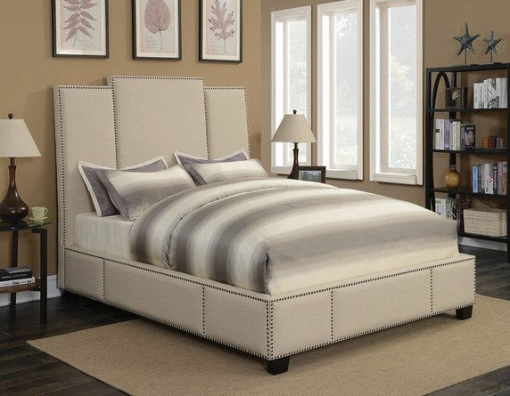 Lawndale Upholstered Queen Bed Beige