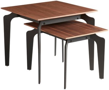 "Brighton 20"" Nesting Table Walnut & Black (Set of 2)"