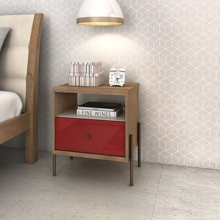 Joy 1-Full Extension Drawer Nightstand Red