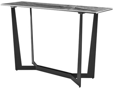 "Mateo 48"" Console Table Ash Gray & Matte Black"
