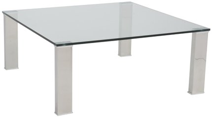 "Beth 36"" Square Coffee Table Clear & Stainless Steel"