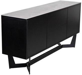 "Mateo 63"" Sideboard Ash Gray & Black"