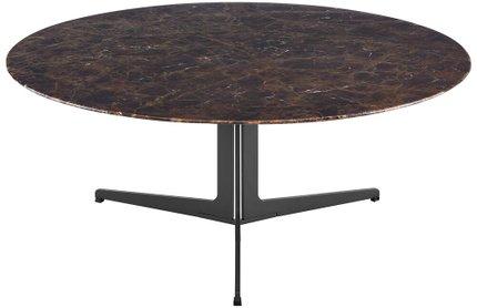 "Ramili 35"" Round Coffee Table Brown & Matte Dark Gray"