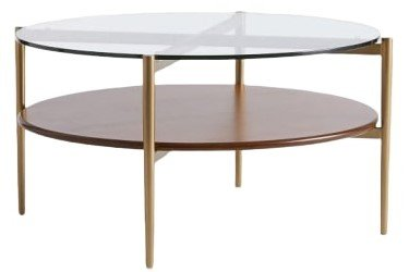 Art Display Coffee Table Walnut And Antique Brass