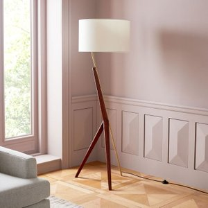 West Elm Caldas Floor Lamp White And Walnut