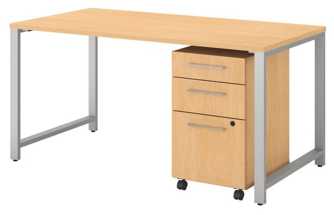 Table Desk With 3 Drawer Mobile File Cabinet Natural Maple