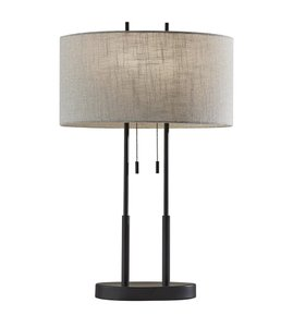 Duet Table Lamp Antique Bronze And Taupe
