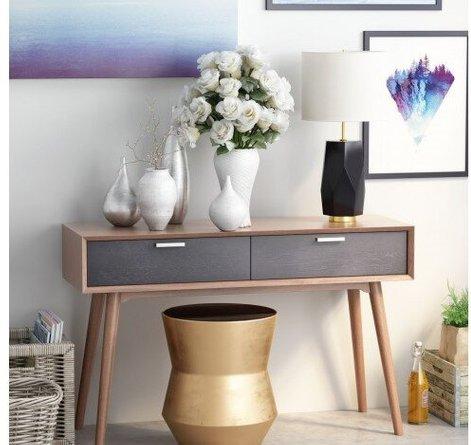Melrose Table Lamp White & Black