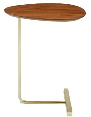 West Elm Charley C-Side Table Walnut And Antique Brass