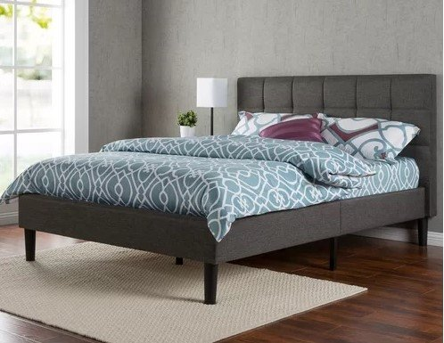 Calvin Platform Queen Bed Dark Gray