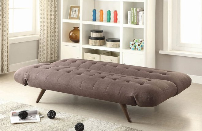 Contemporary Sleeper Sofa Brown And Walnut