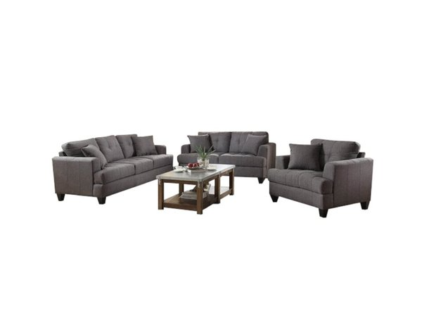 Samuel Transitional Sofa Charcoal And Cappuccino