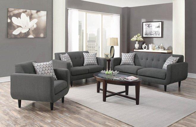 Stansall Mid-Century Modern Sofa Gray